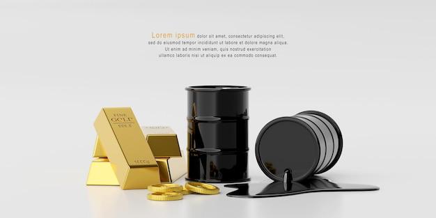 Concept d'investissement, pile de lingots d'or avec baril de pétrole avec modèle de pièce en dollars