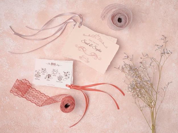 Concept d'invitation de mariage de papeterie