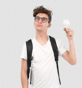 Concept d'un jeune étudiant ayant une idée
