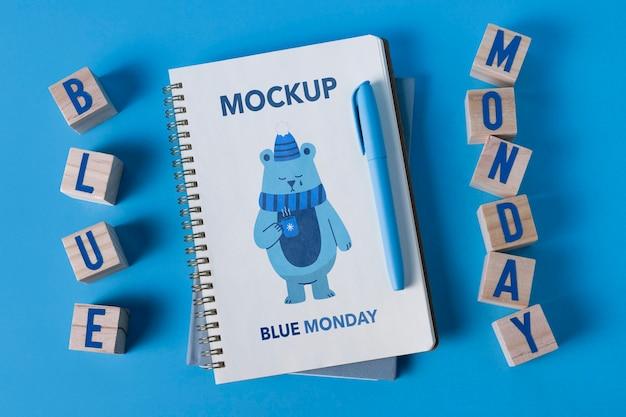 Concept de lundi bleu avec maquette