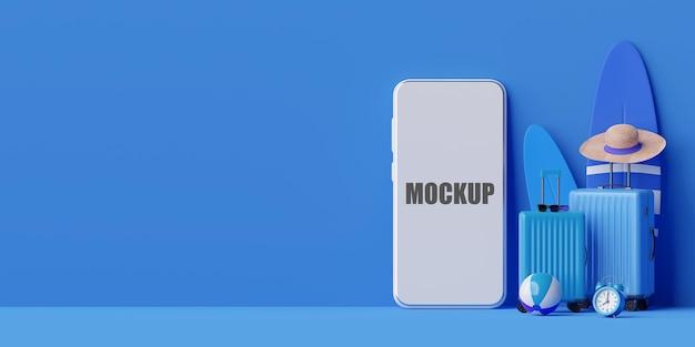 Concept de magasinage d'été en ligne avec maquette de téléphone