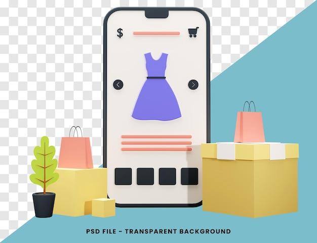 Concept de magasinage en ligne rendu 3d isolé