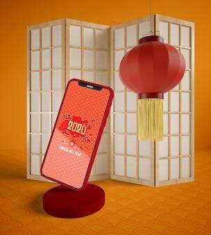 Concept de maquette de téléphone pour le nouvel an chinois