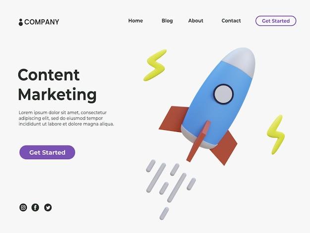 Concept de marketing de contenu 3d avec fusée colorée avec illustration éclair pour la page de destination