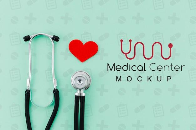 Concept médical vue de dessus avec maquette