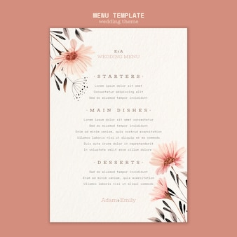 Concept de menu pour modèle de mariage