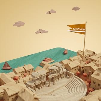 Concept miniature 3d des bâtiments des villes