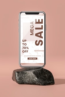 Concept minimaliste de maquette de téléphone portable 3d
