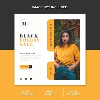 Concept minimaliste de modèle de médias sociaux vente vendredi noir