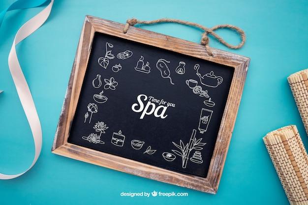 Concept de mockup spa avec ardoise
