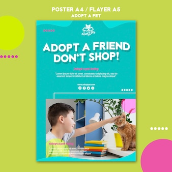 Concept de modèle d'affiche d'adoption pour animaux de compagnie