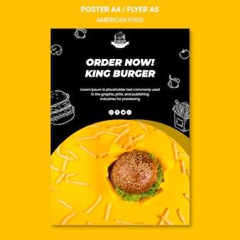 Concept de modèle d'affiche de cuisine américaine