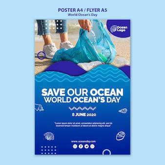 Concept de modèle d'affiche de la journée mondiale des océans