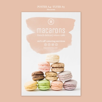 Concept de modèle d'affiche de macarons