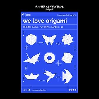 Concept de modèle d'affiche origami