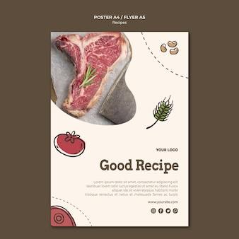 Concept de modèle d'affiche de recettes