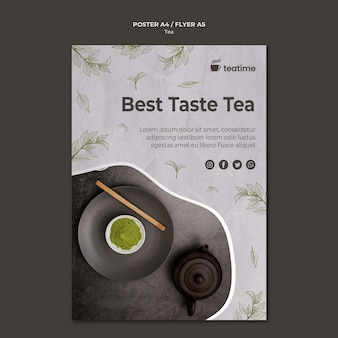 Concept de modèle d'affiche de thé matcha