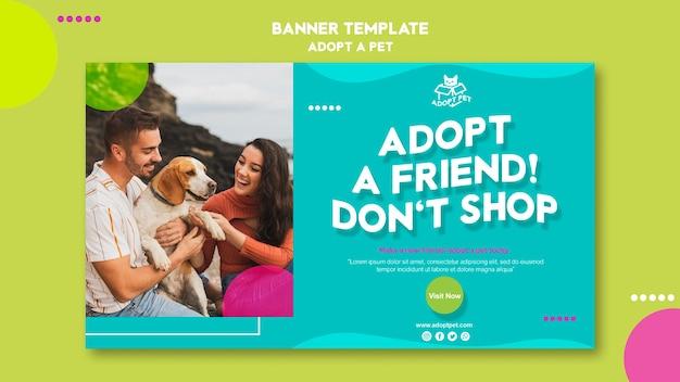 Concept de modèle de bannière d'adoption pour animaux de compagnie