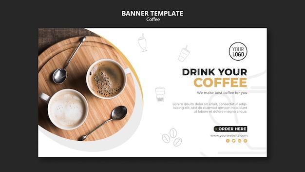 Concept de modèle de bannière de café