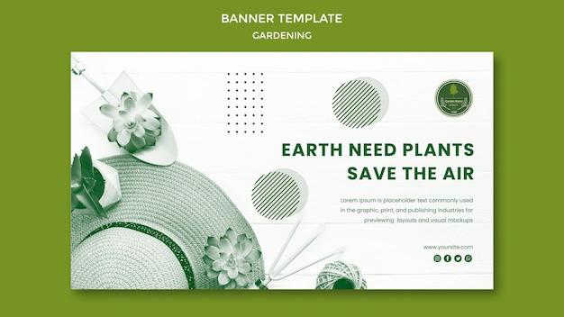 Concept de modèle de bannière de jardinage
