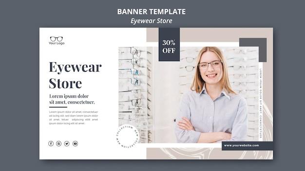 Concept de modèle de bannière de magasin de lunettes