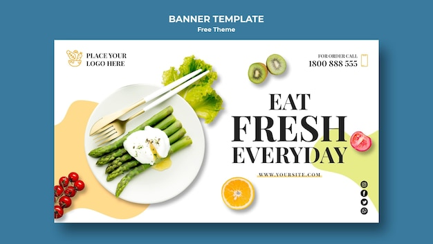 Concept de modèle de bannière de nourriture saine