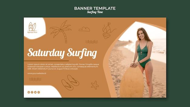 Concept de modèle de bannière de surf