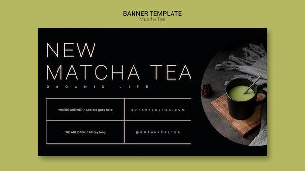 Concept de modèle de bannière de thé matcha