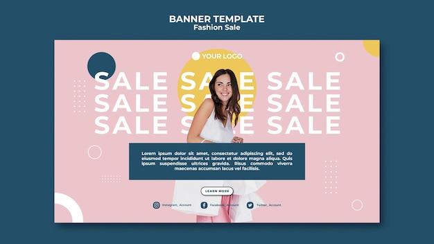 Concept de modèle de bannière de vente de mode