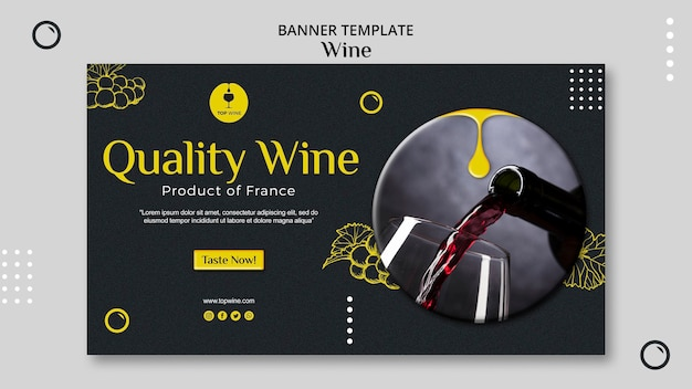 Concept de modèle de bannière de vin