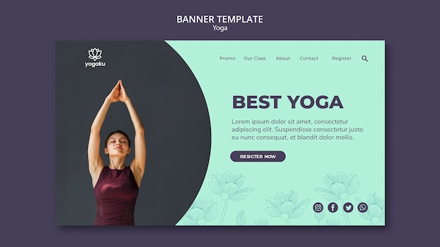 Concept de modèle de bannière de yoga