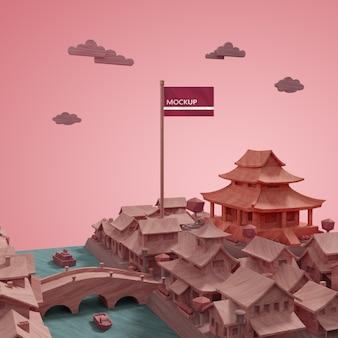 Concept de modèle de bâtiments de la journée mondiale des villes avec maquette
