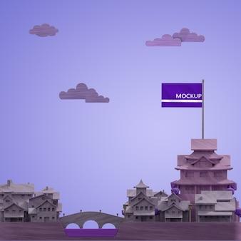 Concept de modèle de bâtiments de la journée mondiale des villes