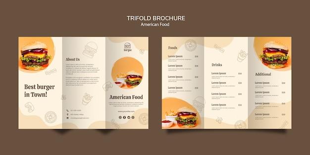 Concept de modèle de carte de brochure de cuisine américaine