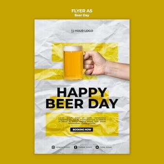 Concept de modèle de flyer de jour de bière