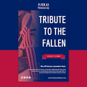 Concept de modèle de flyer memorial day