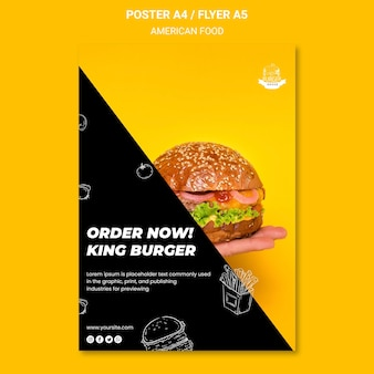 Concept de modèle de flyer de nourriture américaine
