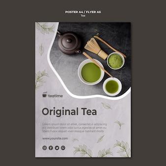 Concept de modèle de flyer de thé matcha