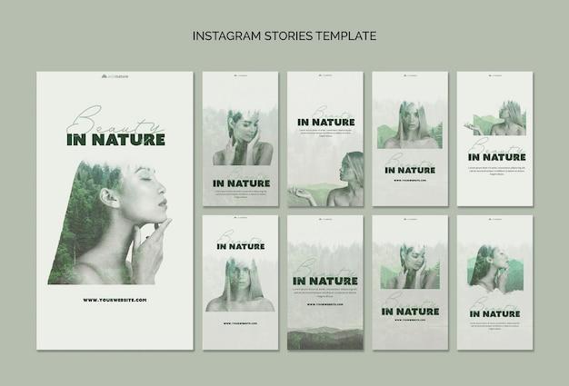 Concept de modèle d'histoires instagram avec la nature sauvage