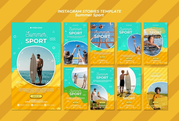 Concept de modèle d'histoires instagram sport d'été