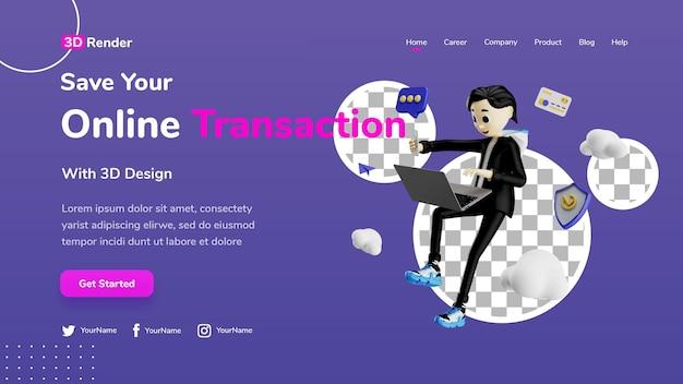 Le concept de modèle de page de destination 3d enregistre la transaction en ligne