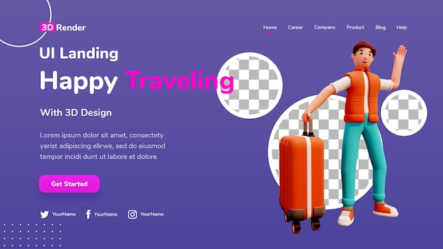 Concept de modèle de page de destination 3d personnage masculin voyageant heureux
