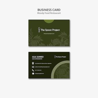 Concept de modèle de restaurant de nourriture moody pour carte de visite