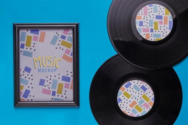 Concept de musique vue de dessus avec disque