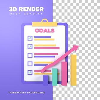 Concept d'objectif commercial de rendu 3d avec plusieurs cibles réussies.