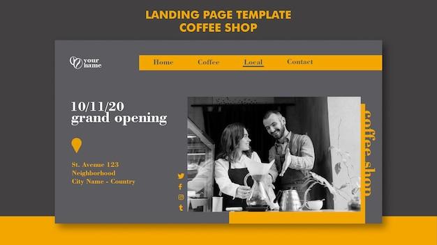 Concept de page de destination de café