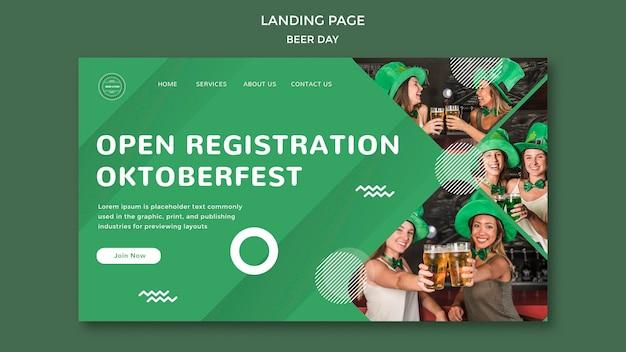 Concept de page de destination de la journée de la bière