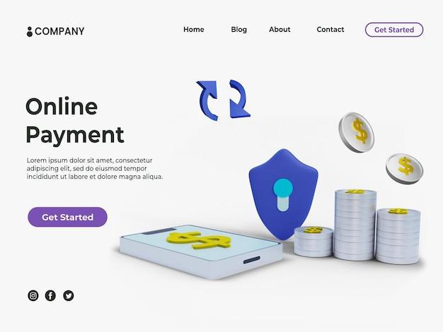 Concept de paiement en ligne 3d avec pièce d'un dollar en argent pour la page de destination