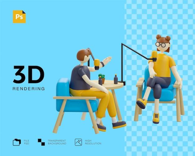 Concept de podcast avec des personnages design deux personnes