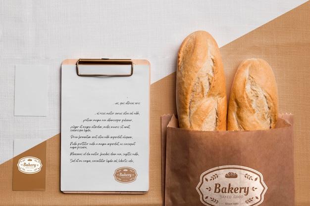 Concept de produits de boulangerie avec maquette
